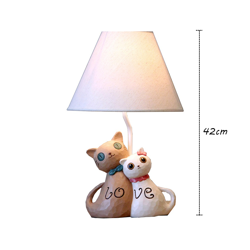 Modern Simple Creative Couple Cat Lamp Linen Shade