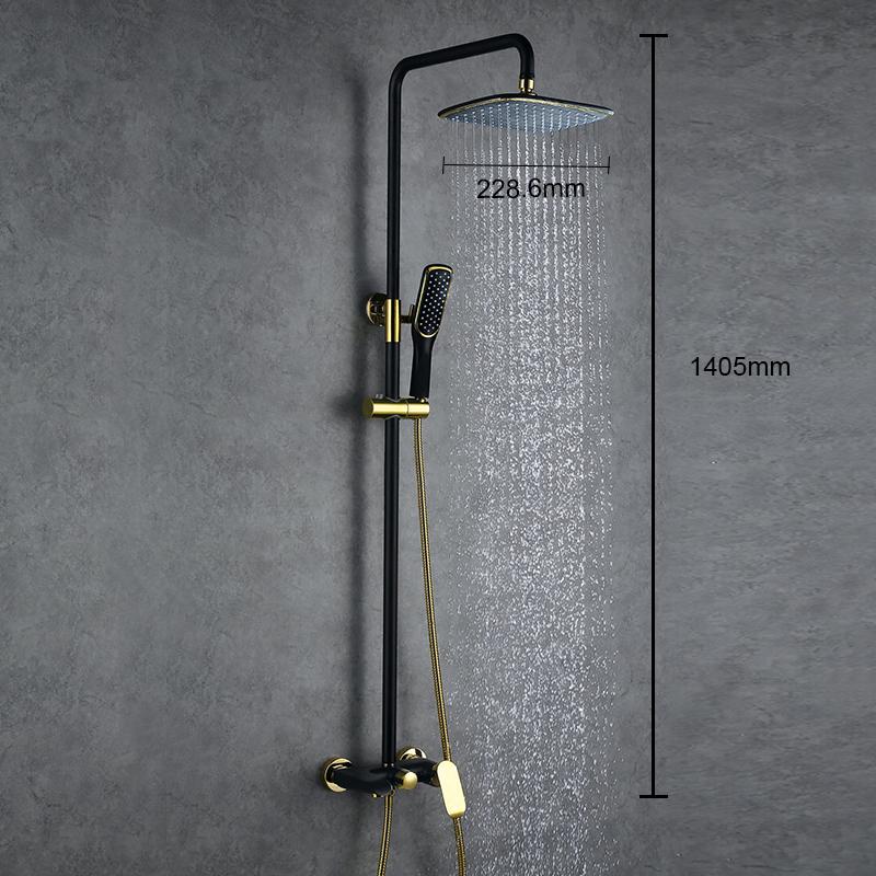 colonne de douche avec douchette laiton noir dor pour salle de bains. Black Bedroom Furniture Sets. Home Design Ideas