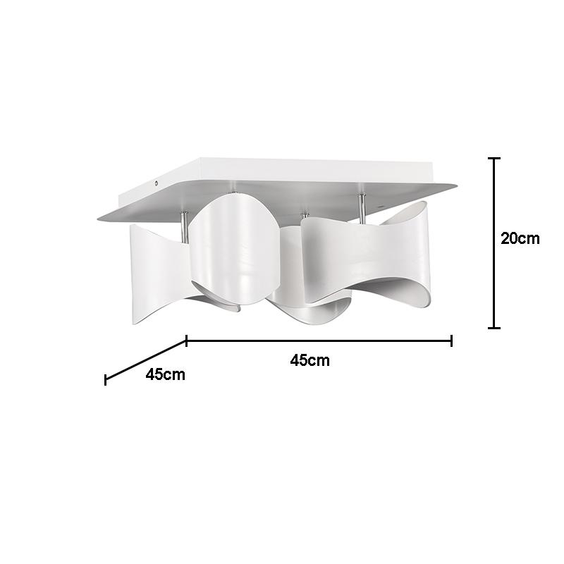 Led deckenleuchte modern aus acryl eckig wei 4 flammig for Deckenleuchte eckig modern