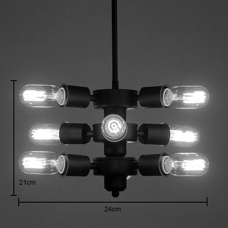 entrep t ue suspension 9 lampes style am ricain campagne industriel r tro rustique en fer. Black Bedroom Furniture Sets. Home Design Ideas
