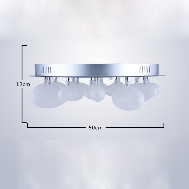 Modern Simple Stainless Steel + Glass Chrome Bubble Shaped LED Ceiling Light