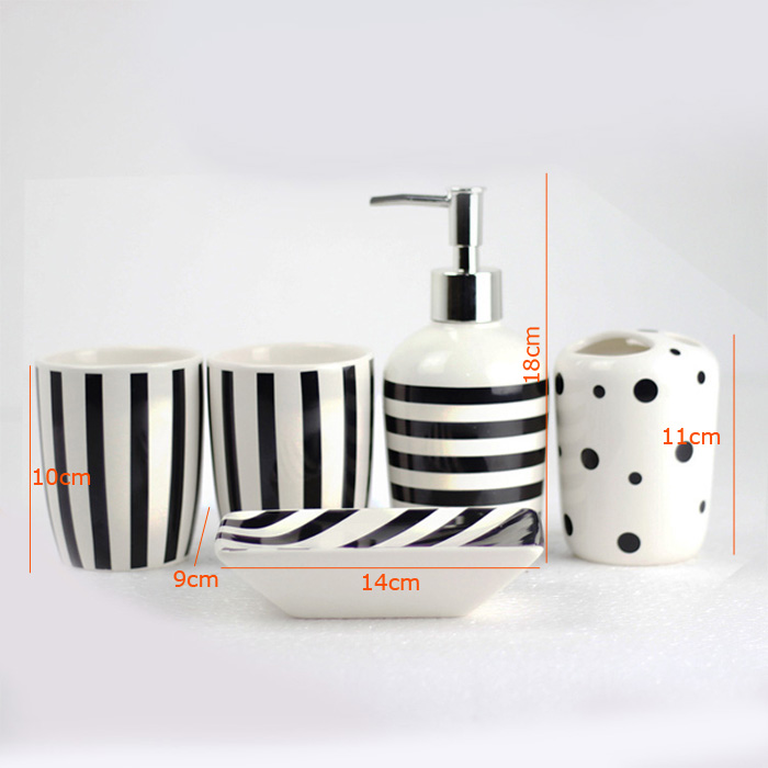 Fashionable Zebra-stripe Creative Ceramic Bath Ensembles Bathroom Accessories 4/5/6-piece