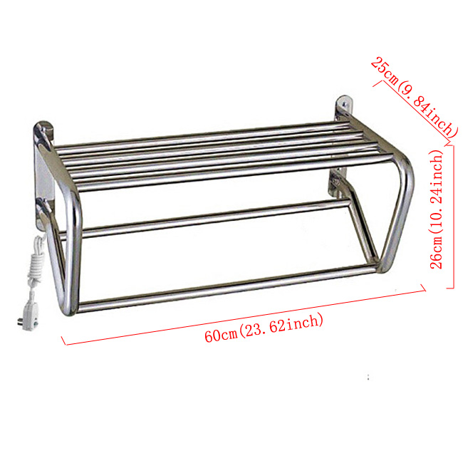Modern Simple Silver Wall Mounted Stainless Steel Towel Warmer 60W