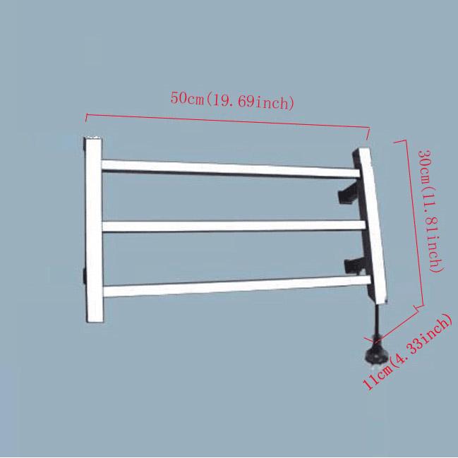 Modern Simple Silver Wall Mounted Stainless Steel Towel Warmer 30W