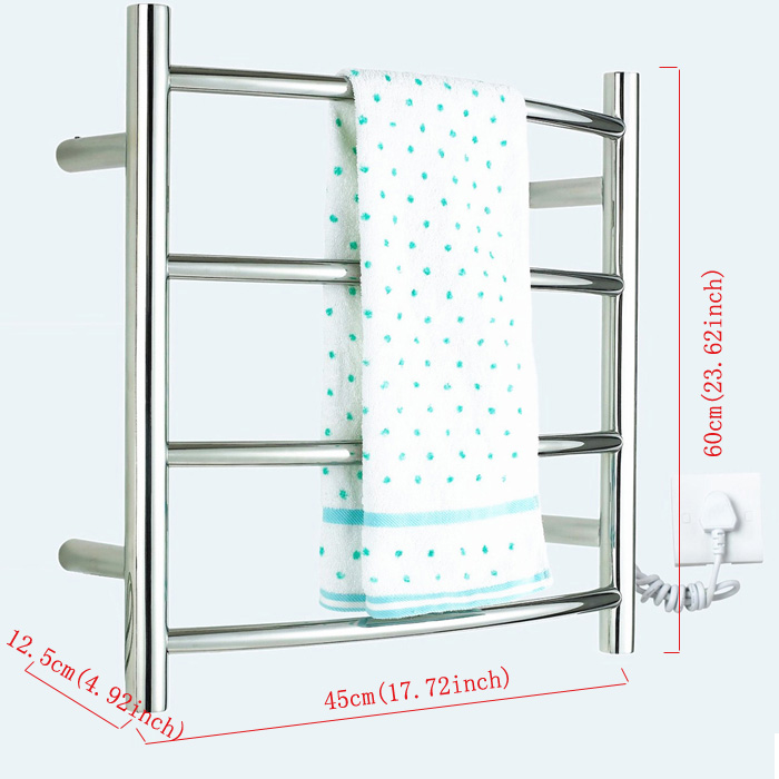 Modern Simple Silver Wall Mounted Stainless Steel Towel Warmer 40W