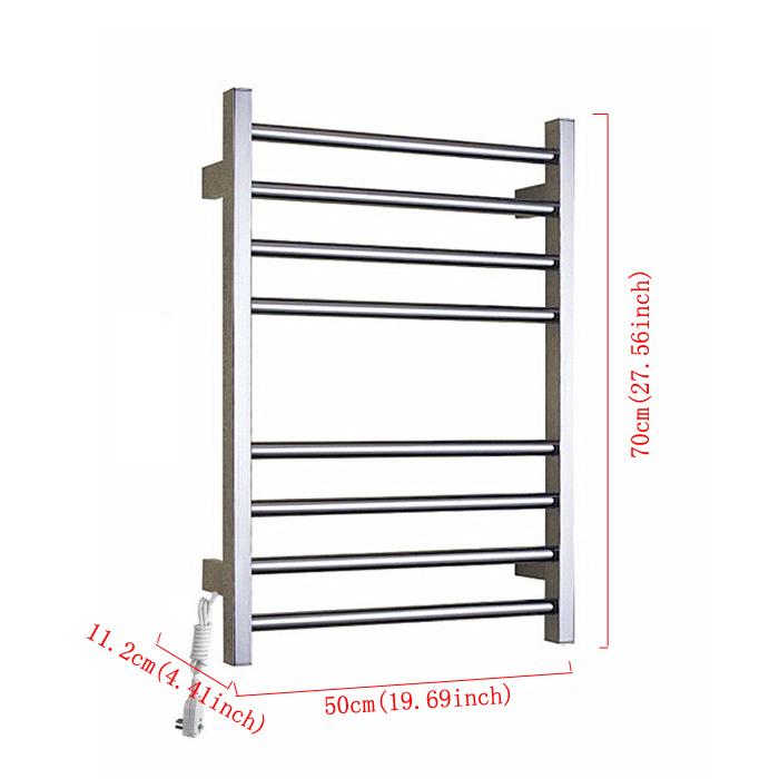 Modern Simple Silver Wall Mounted Stainless Steel Towel Warmer 70W