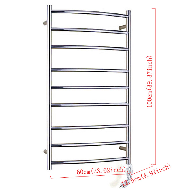 Modern Simple Silver Wall Mounted Stainless Steel Towel Warmer 100W
