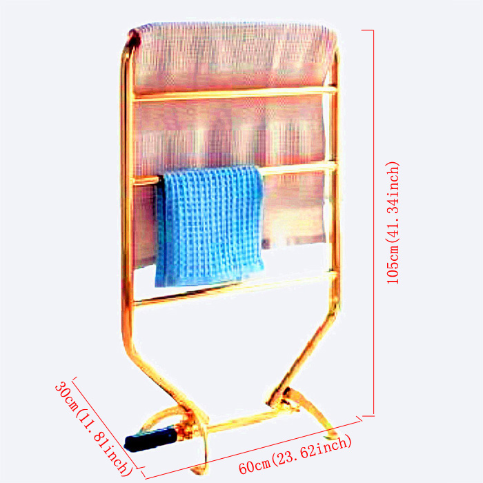Modern Simple Golden Wall Mounted Stainless Steel Towel Warmer 70W