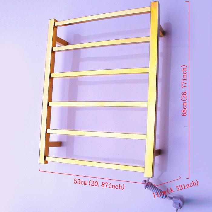 Modern Simple Golden Wall Mounted Stainless Steel Towel Warmer 60W