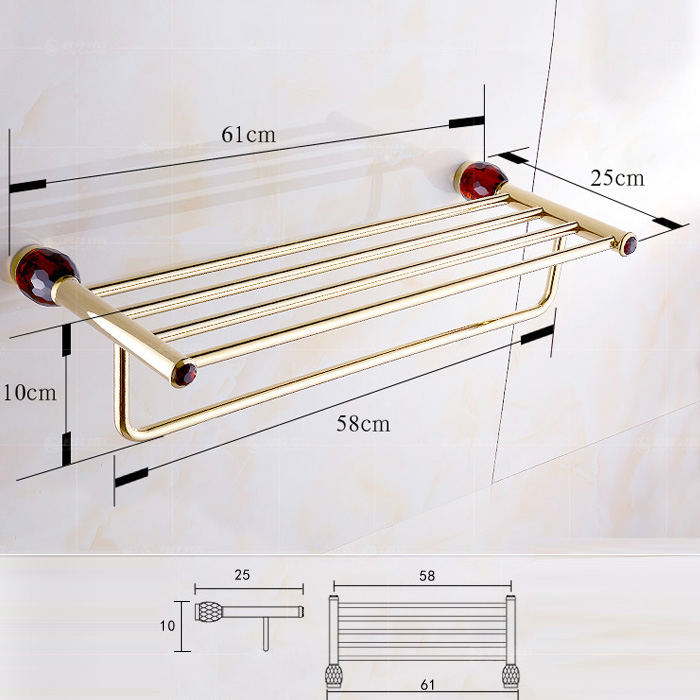 European Style Bathroom Accessories Towel Bar with 4-colored Crystal