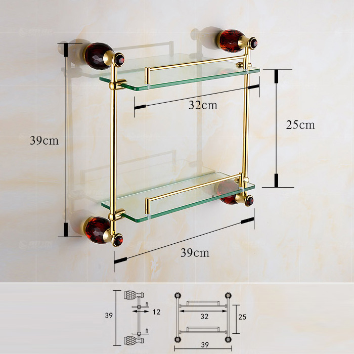 European Style Bathroom Accessories Double-layer Glass Bath Shelf with 4-color Crystal