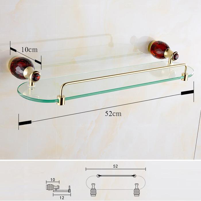 European Style Bathroom Accessories Single-layer Glass Bath Shelf with 4-color Crystal