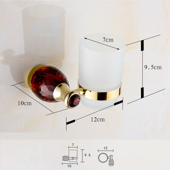 European Style Bathroom Accessories Toothbrush Holder with 4-color Crystal