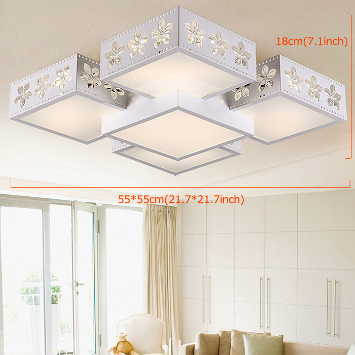 Modern Simple Fashion LED Dimmable Acrylic Sakura Square Flush Mount Light Living Room Bedroom Study Room Dining Room