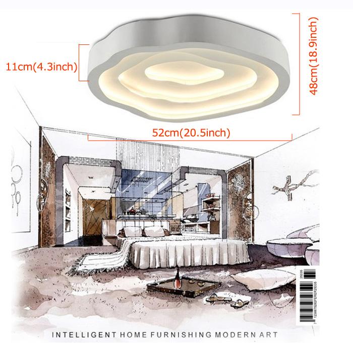 Modern Simple Fashion LED Acrylic White Flush Mount Light Living Room Bedroom Study Room Dining Room