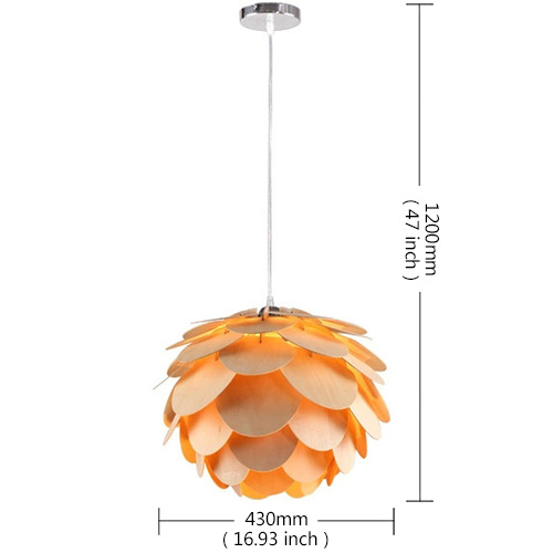 Rustic Style Natural Veneer PineCone Shape Pendant Light 1-light Ceiling Lights