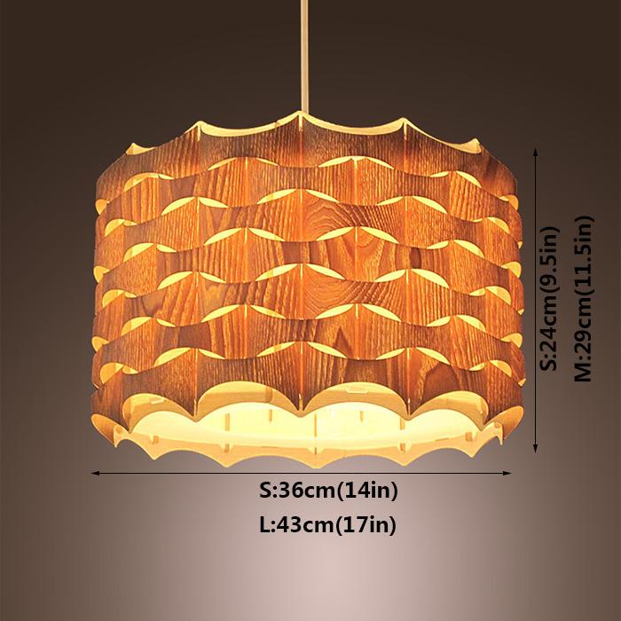 Rustic Style Natural Veneer Spiral Pendant Light